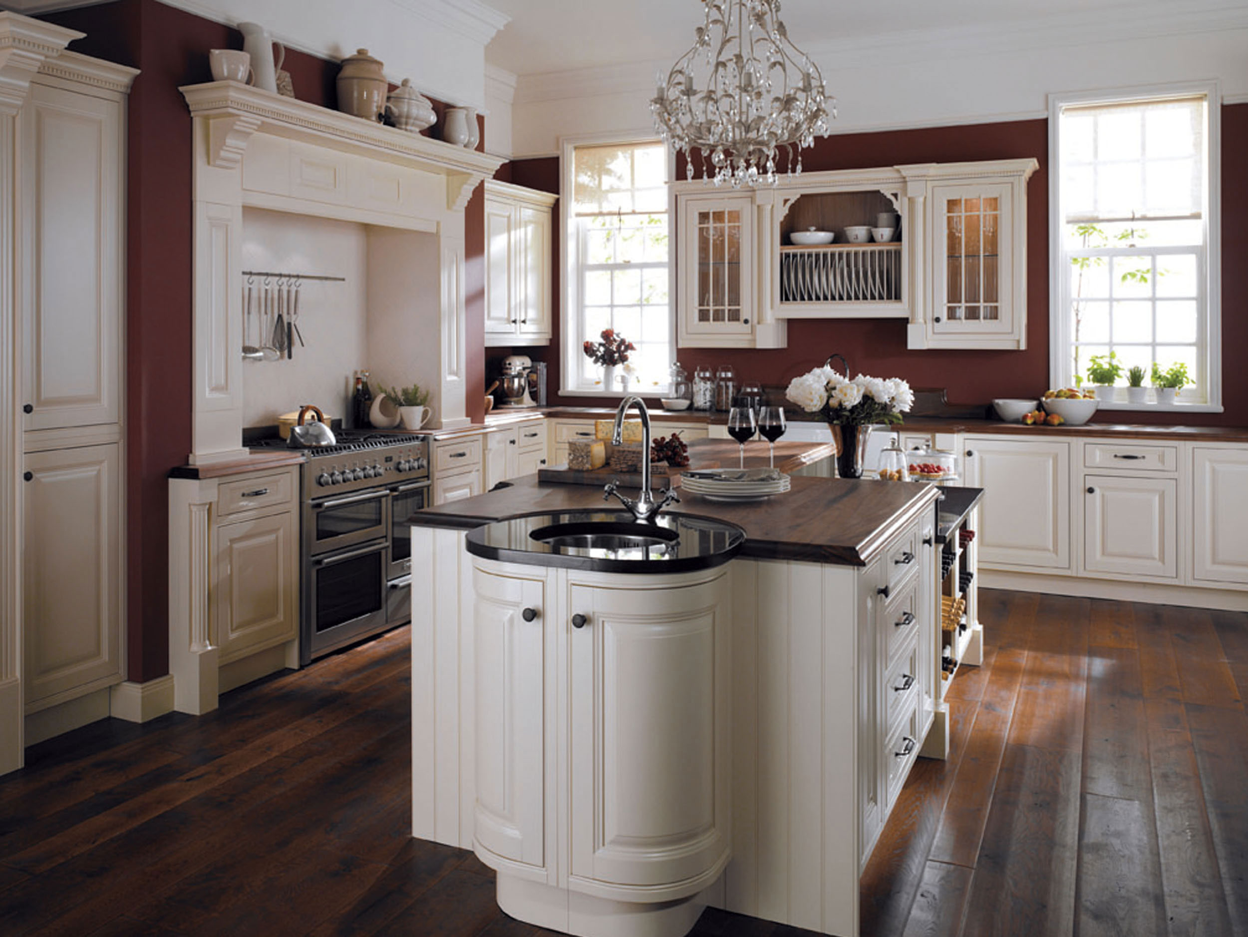 Traditional curved painted kitchen for Table top kitchen cabinet