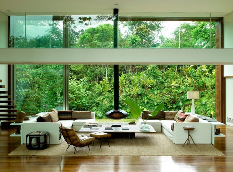 richard powers glass house hanging fireplace deluxe 740x548 House In The Middle of The Amazonian Forest