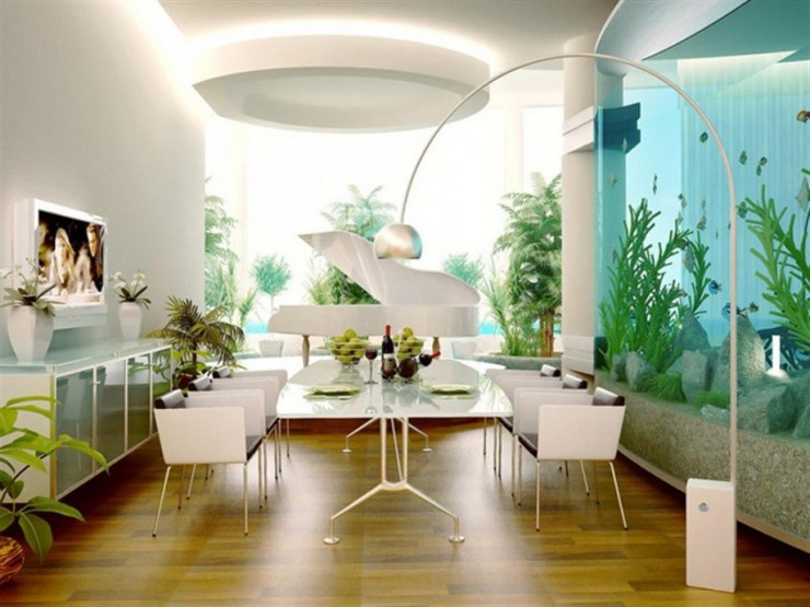 room decorating ideas with aquarium 740x555 Rooms With Stunning Aquariums