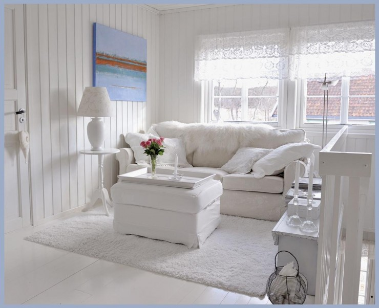 white romantic shabby chic living room